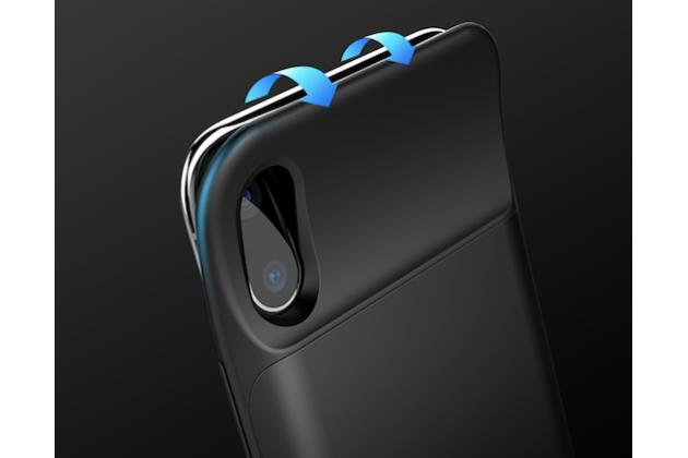 Чехол-бампер со встроенной усиленной мощной батарей-аккумулятором большой повышенной расширенной ёмкости 6000 mAh для Apple iPhone X (10) черный + гарантия