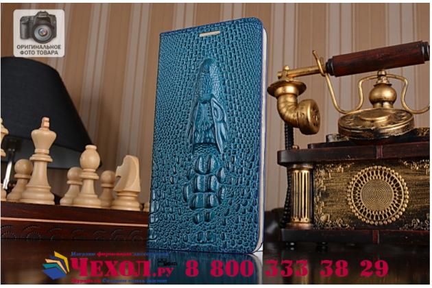 Фирменный роскошный эксклюзивный чехол с объёмным 3D изображением кожи крокодила синий для HTC U Play . Только в нашем магазине. Количество ограничено
