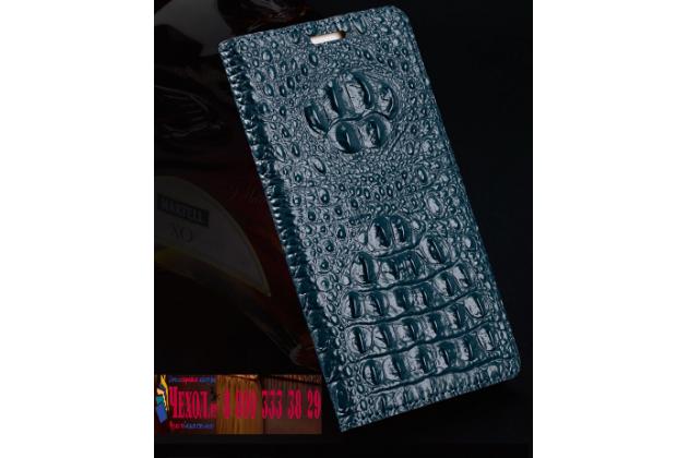 Фирменный роскошный эксклюзивный чехол с объёмным 3D изображением рельефа кожи крокодила синий для HTC U Play . Только в нашем магазине. Количество ограничено