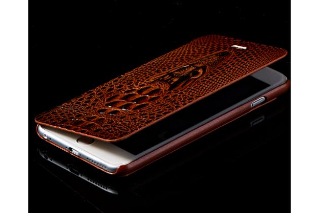Фирменный роскошный эксклюзивный чехол с объёмным 3D изображением кожи крокодила коричневый для HTC U Play . Только в нашем магазине. Количество ограничено