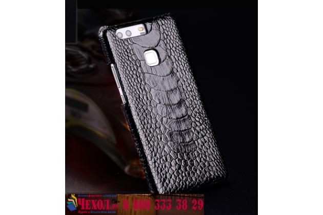 Фирменная роскошная эксклюзивная накладка из натуральной КОЖИ С НОГИ СТРАУСА чёрного цвета для  HTC U Play. Только в нашем магазине. Количество ограничено