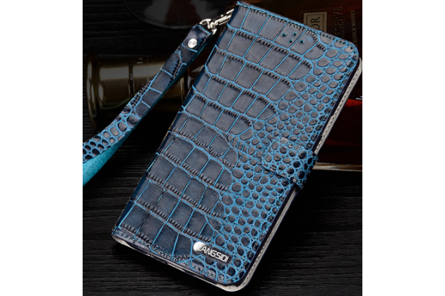 Фирменный чехол-книжка с подставкой для Huawei Honor 8 Pro 5.7/Huawei Honor V9 5.7(DUK-AL20) лаковая кожа крокодила синего цвета.