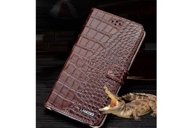 Фирменный чехол-книжка с подставкой для Huawei Honor 8 Pro 5.7/Huawei Honor V9 5.7(DUK-AL20) лаковая кожа крокодила коричневого цвета.