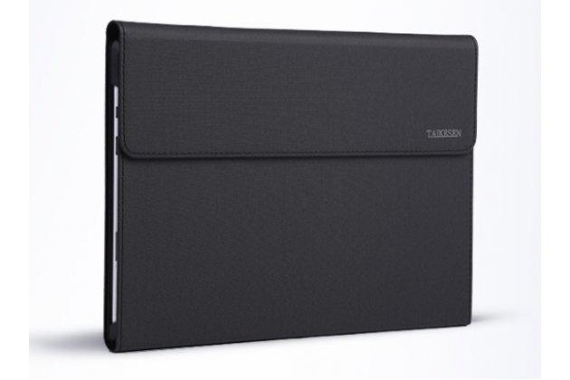 Фирменный оригинальный чехол для Microsoft Surface Pro 5 с отделением под клавиатуру черный кожаный
