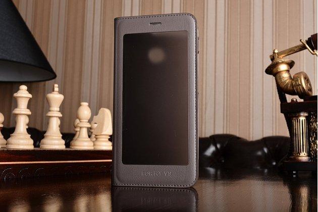 Фирменный оригинальный чехол-кейс из импортной кожи Quick Circle для Huawei Honor 8 Pro 5.7/Huawei Honor V9 5.7(DUK-AL20) с умным окном коричневого цвета.