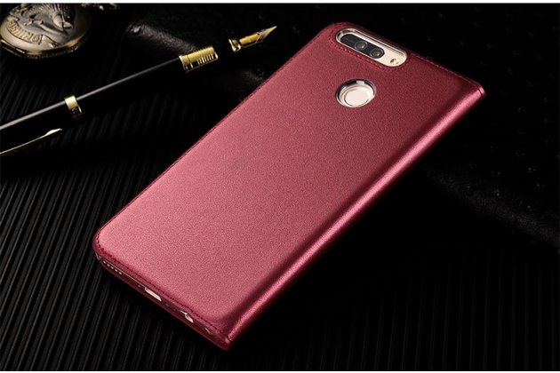 Фирменный оригинальный чехол-кейс из импортной кожи Quick Circle для Huawei Honor 8 Pro 5.7/Huawei Honor V9 5.7(DUK-AL20) с умным окном красного цвета