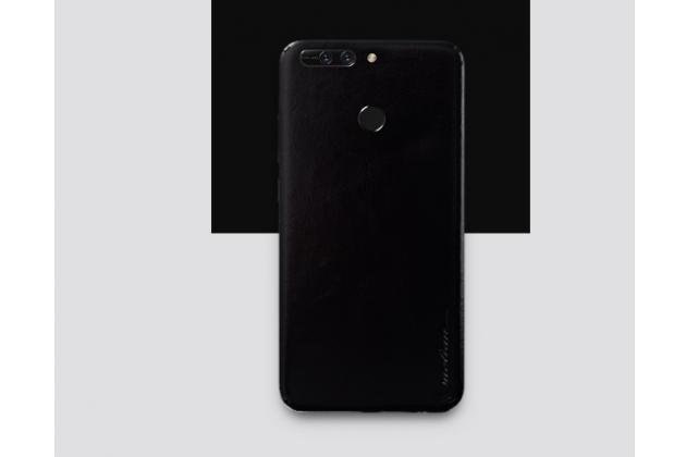 Эксклюзивная оригинальная кожаная накладка (ручная работа) не увеличивающая телефон в размерах для Huawei Honor 8 Pro 5.7/Huawei Honor V9 5.7(DUK-AL20) чёрного цвета.