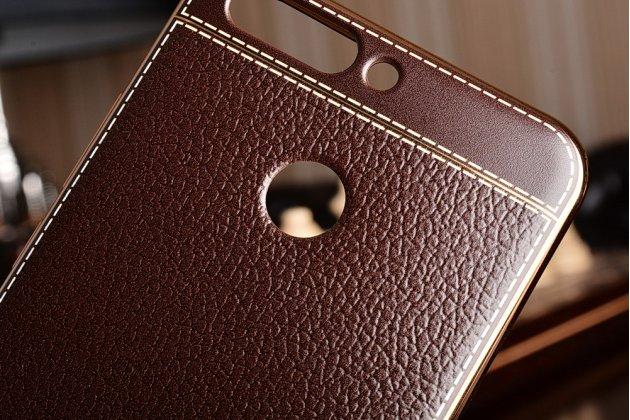 Фирменная премиальная элитная крышка-накладка из качественного силикона с дизайном под кожу для Huawei Honor 8 Pro 5.7/Huawei Honor V9 5.7(DUK-AL20) коричневого цвета.