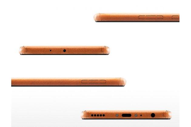 Эксклюзивная оригинальная кожаная накладка (ручная работа) не увеличивающая телефон в размерах для Huawei Honor 8 Pro 5.7/Huawei Honor V9 5.7(DUK-AL20) коричневого цвета.