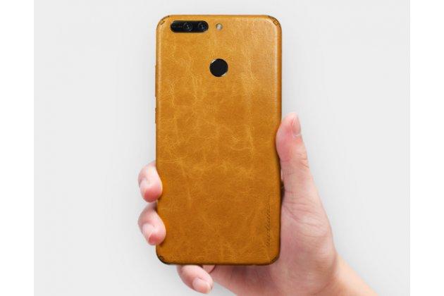 Эксклюзивная оригинальная кожаная накладка (ручная работа) не увеличивающая телефон в размерах для Huawei Honor 8 Pro 5.7/Huawei Honor V9 5.7(DUK-AL20) светло-коричневого цвета.