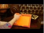 Фирменный чехол-сумка для Samsung Galaxy Note 10.1 2014 edition SM-P600/P601/P605 оранжевый кожаный