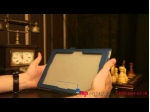 """Чехол-обложка для Sony Xperia Tablet Z с визитницей и держателем для руки синий кожаный """"Prestige"""" Италия"""