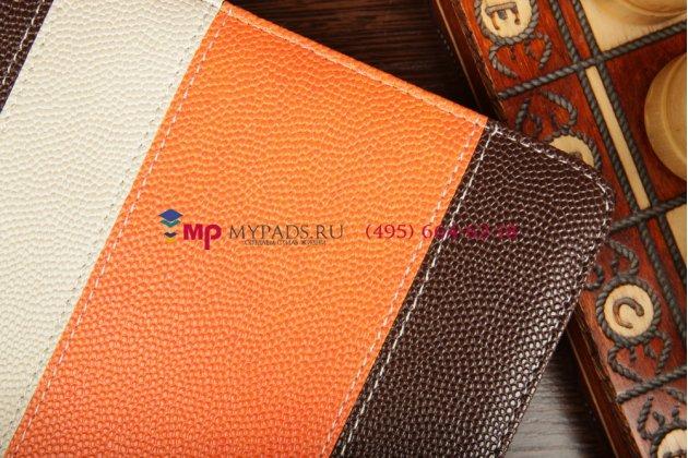 Чехол-обложка для 3Q Qoo! Surf RC0722C коричневый с оранжевой полосой кожаный