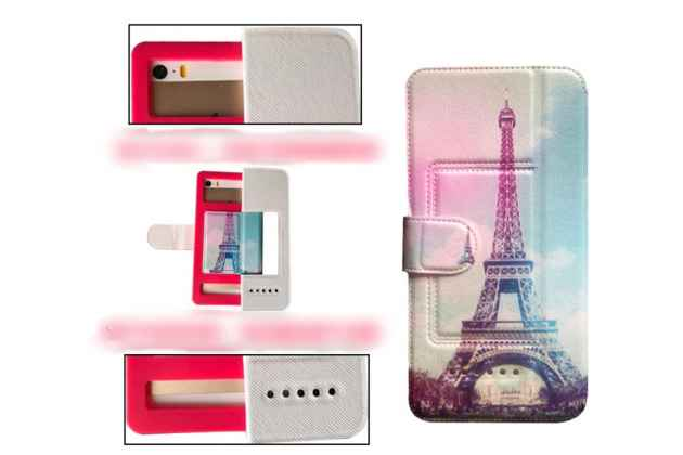 Чехол-книжка для Alcatel Pop 4 XL с застежкой и красивым необычным рисунком и внутренним защитным силиконовым бампером