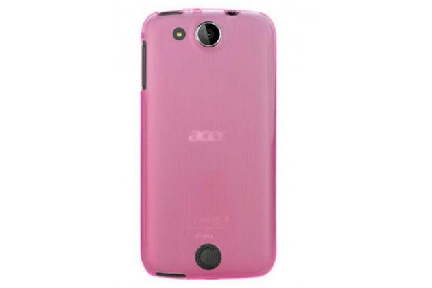 Фирменная ультра-тонкая полимерная из мягкого качественного силикона задняя панель-чехол-накладка для Acer Liquid Jade Z S57 розовый
