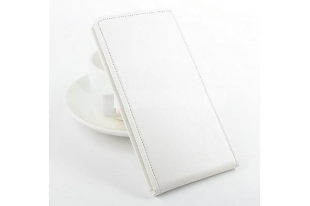 """Фирменный оригинальный вертикальный откидной чехол-флип для Acer Liquid Jade Z  белый кожаный """"Prestige"""" Италия"""