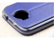 Фирменный чехол-книжка для Acer Jade Primo/ Liquid Jade 2 синий с окошком для входящих вызовов из импортной ко..