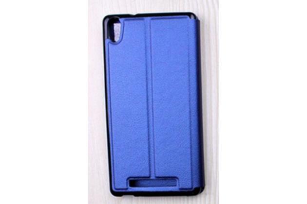 Фирменный чехол-книжка  с окошком для входящих вызовов и свайпом  для ACER Liquid X2 S69 водоотталкивающий синий