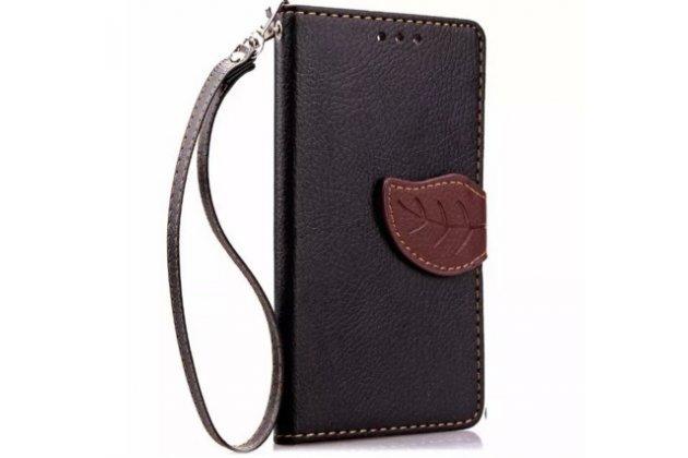 Фирменный чехол-книжка из качественной импортной кожи с мульти-подставкой застёжкой и визитницей для Асер Ликвид З220 / М220 черный