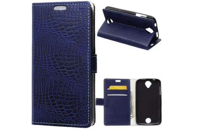 Фирменный чехол-книжка с подставкой для Acer Liquid Z330 Duo/M330 лаковая кожа крокодила фиолетовый