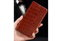 Фирменный роскошный эксклюзивный чехол с фактурной прошивкой рельефа кожи крокодила коричневый для Acer Liquid Z330/ Z330 Duo/M330 . Только в нашем магазине. Количество ограничено