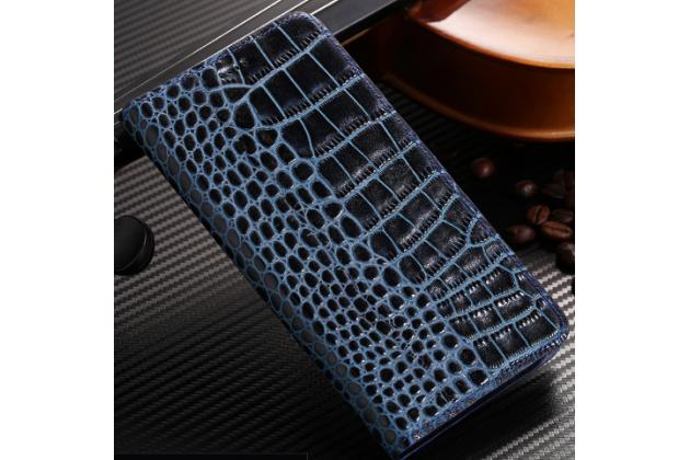 Фирменный роскошный эксклюзивный чехол с фактурной прошивкой рельефа кожи крокодила синий  для Acer Liquid Z330/ Z330 Duo/M330 . Только в нашем магазине. Количество ограничено