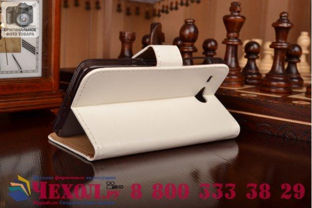 Фирменный чехол-книжка из качественной импортной кожи с мульти-подставкой застёжкой и визитницей для Айсер Ликвид З520 белый