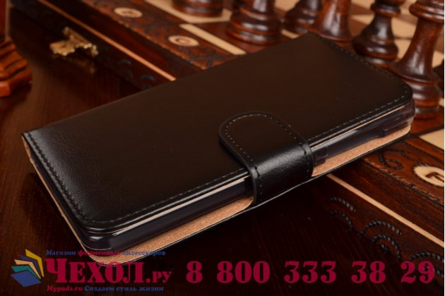 Фирменный чехол-книжка из качественной импортной кожи с мульти-подставкой застёжкой и визитницей для Айсер Ликвид З520  черный