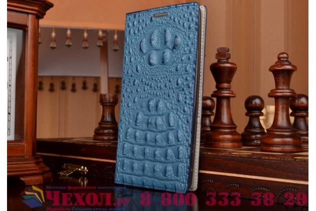 Фирменный роскошный эксклюзивный чехол с объёмным 3D изображением рельефа кожи крокодила синий для Acer Liquid Z520 / Z520 Duo. Только в нашем магазине. Количество ограничено