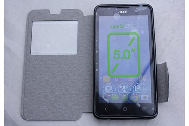 Фирменный оригинальный чехол-книжка для Acer Liquid Z520 / Z520 Duo красный кожаный с окошком для входящих вызовов