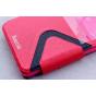 Фирменный оригинальный чехол-книжка для Acer Liquid Z520 / Z520 Duo красный кожаный с окошком для входящих выз..
