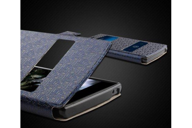 Фирменный оригинальный чехол-книжка для Acer Liquid Z520 / Z520 Duo черный кожаный с окошком для входящих вызовов и свайпом