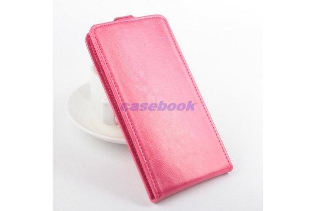 """Фирменный оригинальный вертикальный откидной чехол-флип для Acer Liquid Z520 розовый кожаный """"Prestige"""" Италия"""
