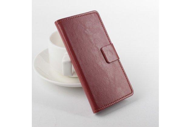 Фирменный чехол-книжка из качественной импортной кожи с мульти-подставкой застёжкой и визитницей для Айсер Ликвид З520 коричневый