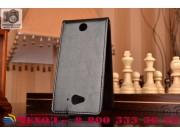 Фирменный оригинальный вертикальный откидной чехол-флип для  Acer Liquid Z530 черный из натуральной кожи