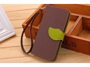 Фирменный чехол-книжка из качественной импортной кожи с подставкой застёжкой декорированной под листок и визит..