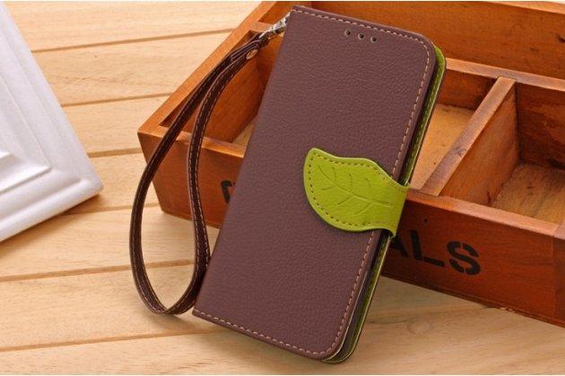Фирменный чехол-книжка из качественной импортной кожи с подставкой застёжкой декорированной под листок и визитницей для Асер Ликвид Зэт 530 / Acer Liquid Z530  коричневый