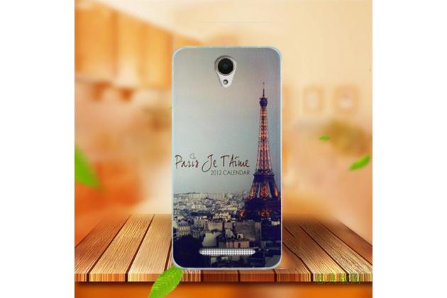 """Фирменная задняя панель-чехол-накладка из 3D силикона с объёмным рисунком для Acer Liquid Z6 5.0"""" """"тематика Париж"""""""