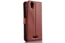 Фирменный чехол-книжка из качественной импортной кожи с подставкой застёжкой и визитницей для Асер Ликвид Зэт 630 / Acer Liquid Z630  коричневый