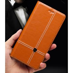 Фирменный чехол-книжка из натуральной кожи с прошивкой и подставкой для Acer Liquid Z630 / Z630 Duo / Z630s коричневый