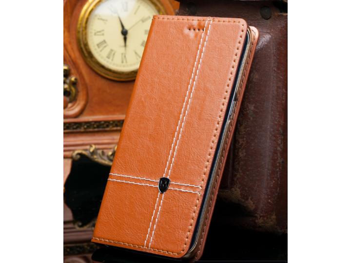 Фирменный чехол-книжка из натуральной кожи с прошивкой и подставкой для Acer Liquid Z630 / Z630 Duo / Z630s ко..