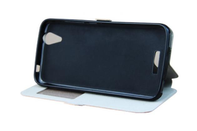 Фирменный оригинальный чехол-книжка для Acer Liquid Z630 / Z630S черный с окошком для входящих вызовов водоотталкивающий