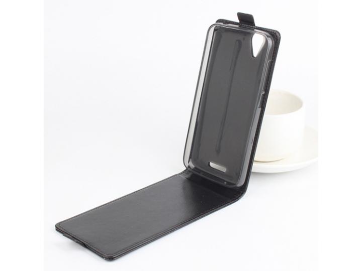 Фирменный оригинальный вертикальный откидной чехол-флип для Acer Liquid Z630 / Z630S черный из натуральной кож..