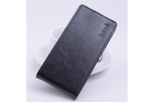 """Фирменный оригинальный вертикальный откидной чехол-флип для Acer Liquid Z630 / Z630S черный из натуральной кожи """"Prestige"""" Италия"""