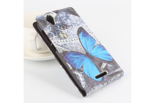 """Фирменный вертикальный откидной чехол-флип для Acer Liquid Z630 / Z630 Duo / Z630s  """"тематика Бабочка"""""""
