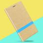 Фирменный чехол-книжка для Acer Liquid Zest/ Liquid Zest 4G золотой с синей  полосой водоотталкивающий..