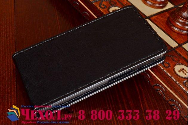 """Фирменный оригинальный вертикальный откидной чехол-флип для Acer Liquid E3 E380 черный из качественной импортной кожи """"Prestige"""" Италия"""