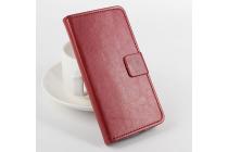 Фирменный чехол-книжка из качественной импортной кожи с мульти-подставкой застёжкой и визитницей для Асер Ликвид Е600 коричневый