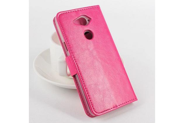 Фирменный чехол-книжка из качественной импортной кожи с мульти-подставкой застёжкой и визитницей для Асер Ликвид Е600 розовый