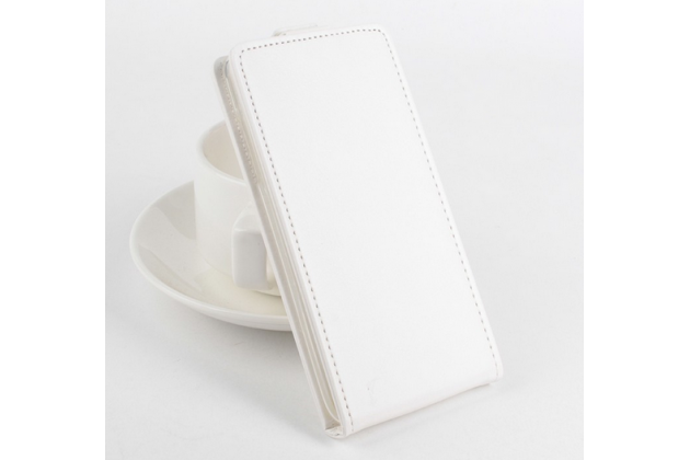 """Фирменный оригинальный вертикальный откидной чехол-флип для Acer Liquid E600 белый из натуральной кожи """"Prestige"""" Италия"""